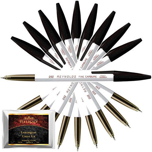 Reynolds 045 Pen Fine Carbure Black Color (10 Ball Point Pens Bundle TeaLegacy Free Sampler) Non Smudge Fine Writing Experience Home, Office, School, College Exams