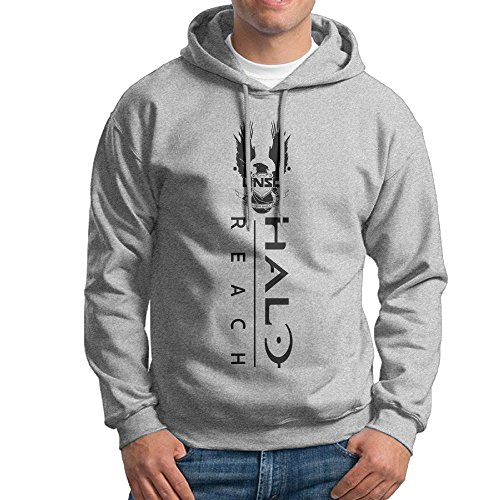 YLS Men Ha Lo Military Science Shooter Video Game Jogging Vintage Hoodie Sweatshirt Size L Ash