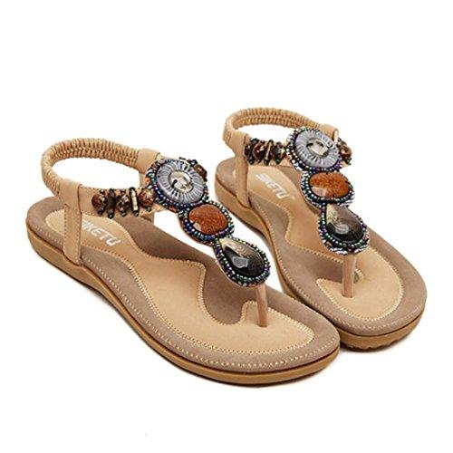 zjenee Mujer Flat Sandal de Bohemia verano playa zapatos caqui