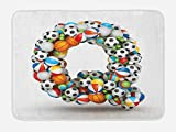 Ambesonne Letter Q Bath Mat, Typographic Letter Font Design with Various Gaming Balls Athletic Kids Teamplay, Plush Bathroom Decor Mat with Non Slip Backing, 29.5 W X 17.5 W Inches, Multicolor