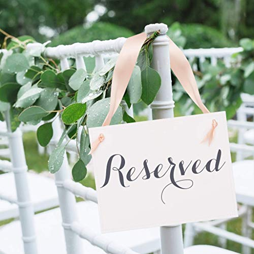 (2 Reserved Signs Wedding Chair Seat Banners for Party or Event | Reserve Seating Handmade Signage for Family or VIP Guests | Slate Gray Ink & Blush Ribbon White Linen Texture Cardstock)