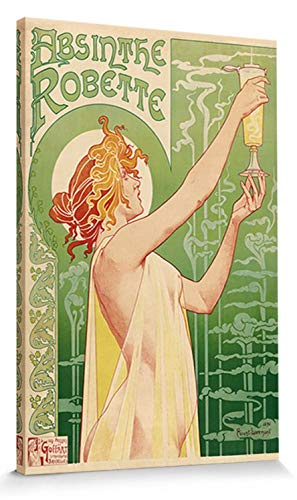 (Historical Advertisement Stretched Canvas Print - Green Fairy, Absinthe Robette, Henri Privat Livemont, 1896 (24 x 16 inches))