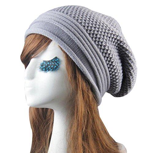 Fheaven Knit Winter Warm Women Men Hip-Hop Beanie Hat Baggy Unisex Ski Cap Skull (Gray)