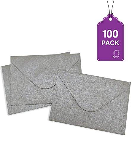 100 Pack Mini Envelopes 4 x 2.75 Gift Card Envelopes. Easy-Seal Business Card/Gift Card Envelopes (2 Colors Available) (Silver)