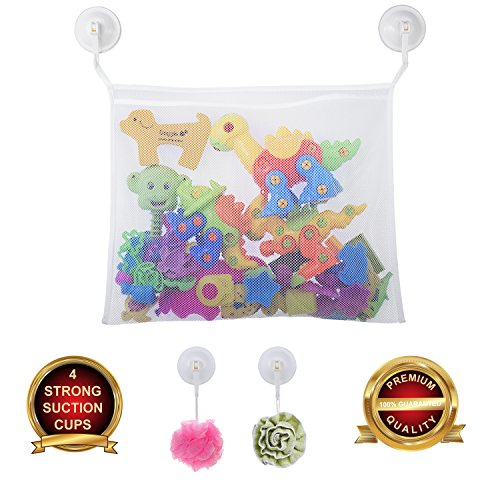 Bath Toy Organizer, with 4 Extra Strong Suction Hooks, Durable Non-Toxic Bath Mesh Bag for Toddlers and Kids Bathtub Toys, Premium Quality Multipurpose Bath Storage Net for Bath Accessories, Cosmetics