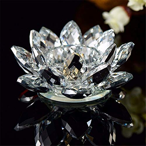 Crystal Lotus Flower Photophore Candle Holder Figurines Miniatures Feng Shui Buddha Bowl Home Decoration Accessories (Color : Clear)
