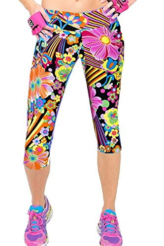 Ancia Womens Tartan Active Workout Capri Leggings Fitted Stretch Tights(Jasmine,XL)