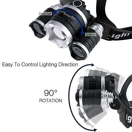 Leyic LED Headlamp Set, 3 LED Rechargeable Bright USB Headlight Zoomable Focus for Riding/Hiking/Fishing Outdoor Sports