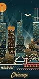 Lantern Press Chicago Illinois Retro Skyline Illustrated Decorative Travel City Art Poster Print, Rolled 12 by 24