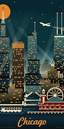 Lantern Press Chicago Illinois Retro Skyline Illustrated Decorative Travel City Art Print (Unframed 12x24 Poster) (Posters Chicago Skyline)