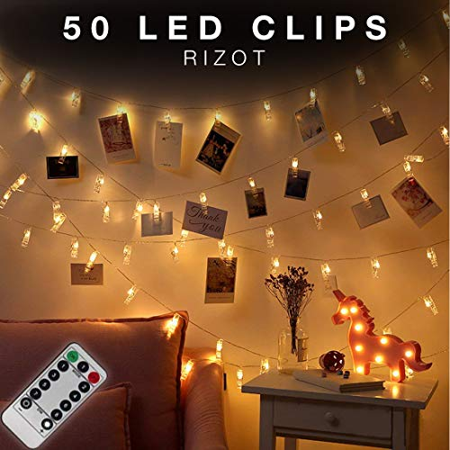 (50 LED Photo Clips String Lights with Remote - Photo Clips - String Lights - Led Photo Clip - Bedroom Lights - Photo Hanging - Bedroom Decorations - LED Photo String - Photo Clip Holder)