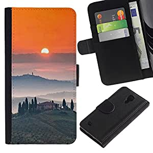 iBinBang / Flip Funda de Cuero Case Cover - Tosca Landscape Sunrise Wine - Samsung Galaxy S4 IV I9500