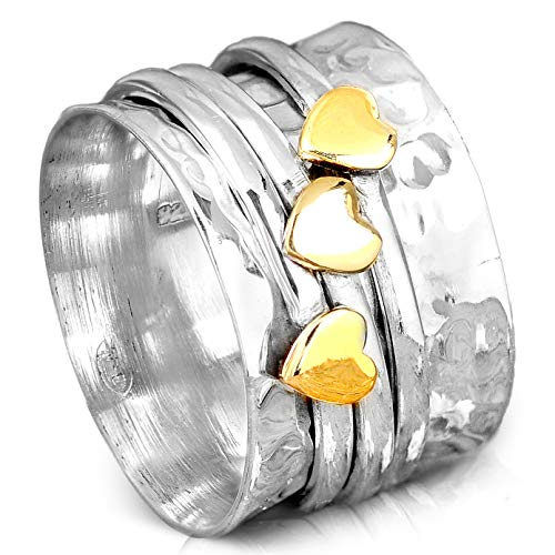 (Boho-Magic Spinner Ring for Women | 925 Sterling Silver Ring with Copper, Brass & Silver Spinning Bands | Wide Fidget Meditation Anxiety Jewelry | Size 8.5-10.5 (5.5))