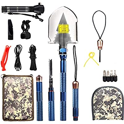BAALAND Military Folding Shovel, Tactic Survival Shovel with Axe Saw Knife Flashlight Multi Tools for Camping Hiking Outdoor Adventure by BAALAND