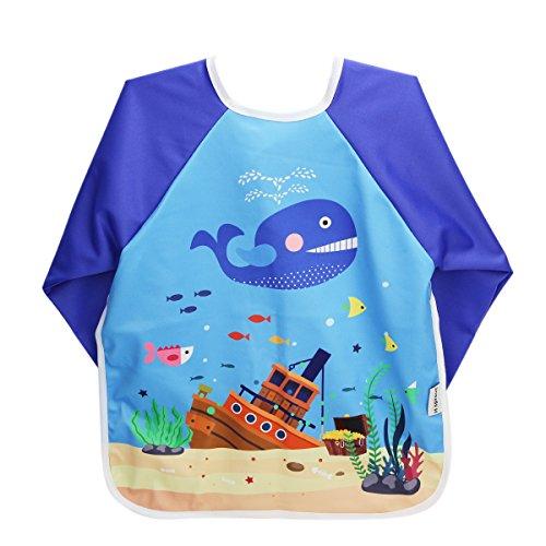 Hi Sprout Unisex Infant Toddler Baby Super Waterproof Sleeved Bib, Reusable Bib with Sleeves& Pocket, 12-24 Months,SeaWorld