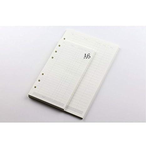 LEEQ - Carpeta de Recambio de 6 Anillas, tamaño A5, Papel de ...