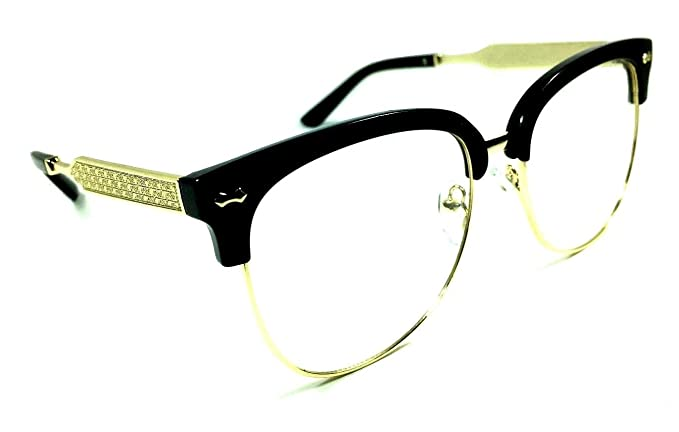 ef4188cd2c Amazon.com  Horn Rimmed Clubmaster Half Frame Metal   Plastic Eyeglasses    Clear Lens Sunglasses (Black   Gold Frame