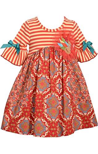 Bonnie Jean Girl's Red Turkey Empire (6 (Poplin Empire Dress)