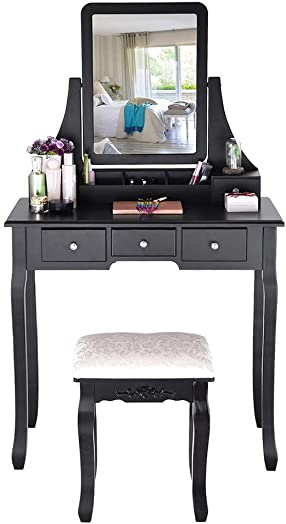 Vanity Set with Mirror Cushioned Stool, Dressing Table,Vanity Makeup Table 5 Drawers 2 Dividers Movable Organizers,Suitable for Bedroom Black
