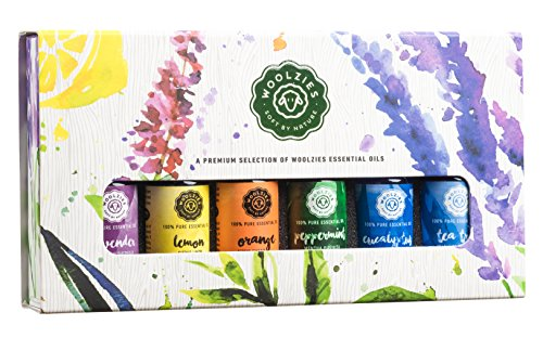 Woolzies Essential Oil Gift Set of 6 Popular 100% Pure Essential Oils, Lavender, Sweet Orange, Lemon, Eucalyptus Lemon, Peppermint & Tea Tree Essential Oil kit