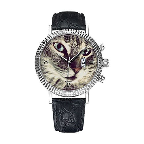 Analog Quartz Wrist Watch - Calendar Date Thin Classic Casual Watch with black Leather Band Large Face Watches-Personality pattern 249.Cute - Watch Black Leather Animal Silver
