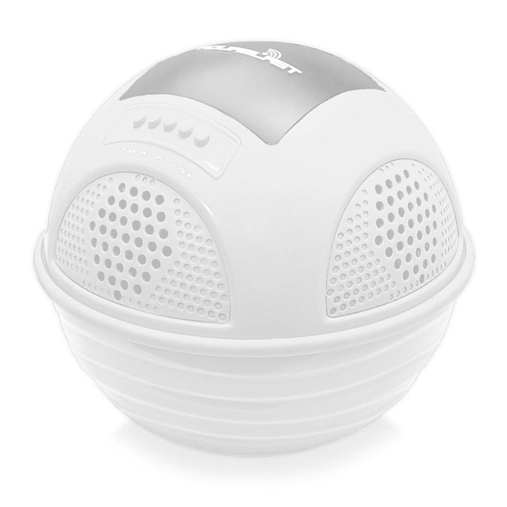 Pyle Waterproof Wireless Bluetooth Speaker Rechargeable Batteries White