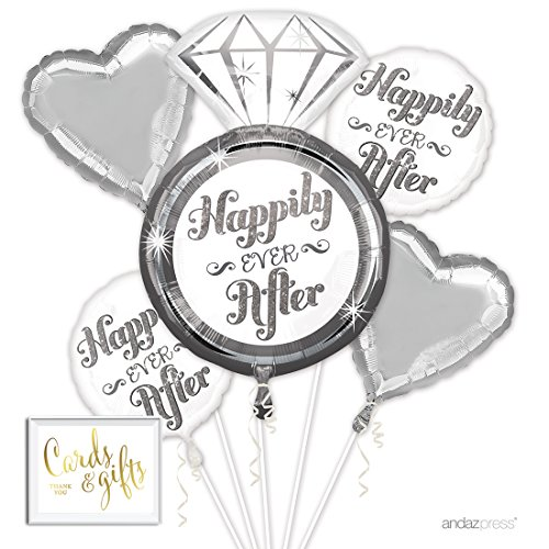 Andaz Press Balloon Bouquet Party Kit with Gold Cards & Gifts Sign, Wedding Happily Ever After Platinum Diamond Engagement Ring Foil Mylar Balloon Decorations, 1-Set
