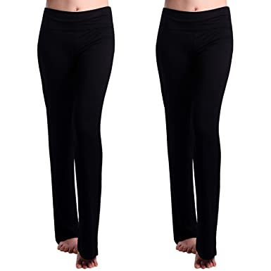 ae96a72701a2f HDE 2-Pack Women's Maternity Yoga Stretch Pants Fit & Flare Foldover  Pregnancy Leggings (