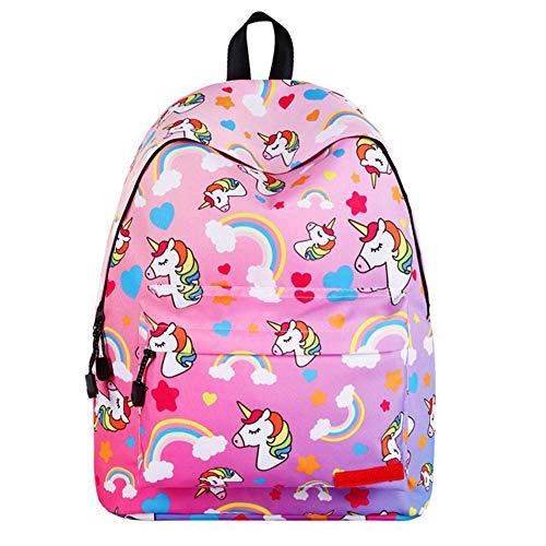 BJHAP Pink Purple Unicorn School Backpack, 14 Inch Laptop Bag Casual Lightweight Bookbag Women Travel Daypack