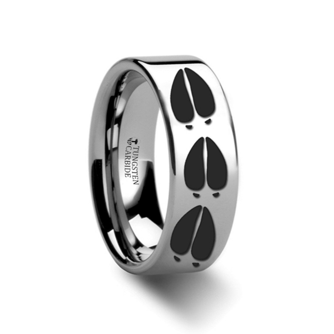 Thorsten Deer Track Animal Tracks Deer Buck Hoof Print Ring Flat Polished Tungsten Ring 8mm Wide Wedding Band from Roy Rose Jewelry