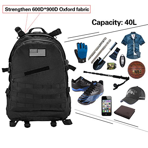 f5669300b2a Aurosports Military Tactical Backpack 3 Day Assault Pack Molle Waterproof  With Velcro Patch for Hiking Camping