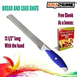 ENJI PRIME Cake and Bread Knife Stainless Steel Knife with Serrated, Non stick Blade 8