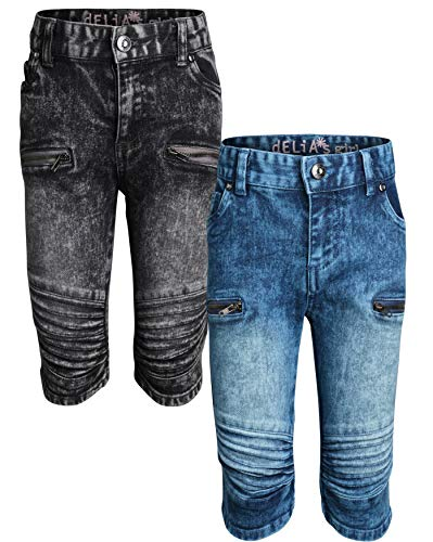 - dELiAs Girls Soft Stretch Denim Bermuda Style Shorts (2 Pack), Moto with Zipper, Size 10'