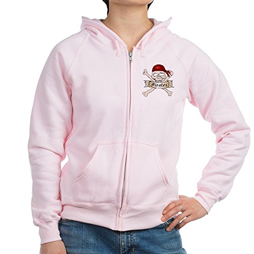 Truly Teague Women's Zip Hoodie Simply Pirates Skull & Crossbones - Pale Pink, 2X