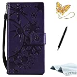 Sony Xperia XZ case,TOUCASA PU Leather Wallet Magnetic Case Card Slots Cash Holder Kickstand Flip Book Case with Snowflake in Sunshine Design for Sony Xperia XZ + Free Touch Stylus Pen & Dust Plug-Brown