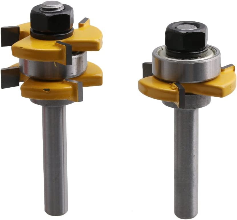 Yibuy 2/pezzi 0,8/cm codolo tongue and Groove t-forma router bit set con 3/denti