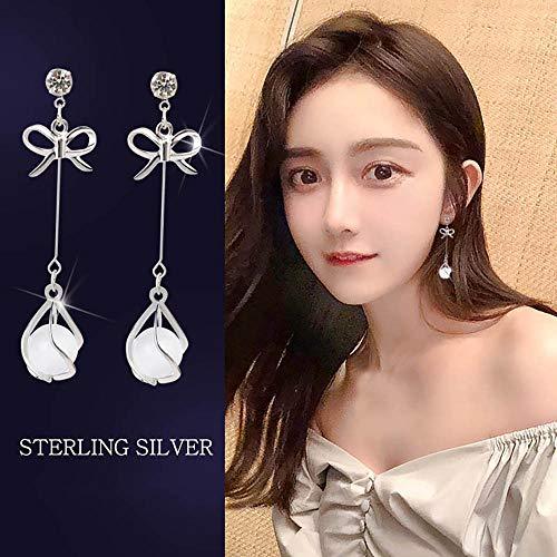 - ❤Ywoow❤ Ear Studs, Women Long Bow Earrings Agate Pendant Versatile Hypoallergenic Earrings