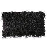 PHANTOSCOPE Decorative New Luxury Series Merino Style Black Fur Throw Pillow Case Cushion Cover 12'' x 20'' 30 x 50 cm