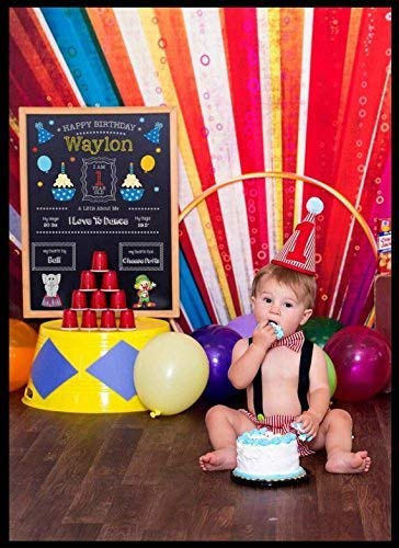 Circus Carnival Themed Cake Smash Boys Birthday Outfit w/Suspenders