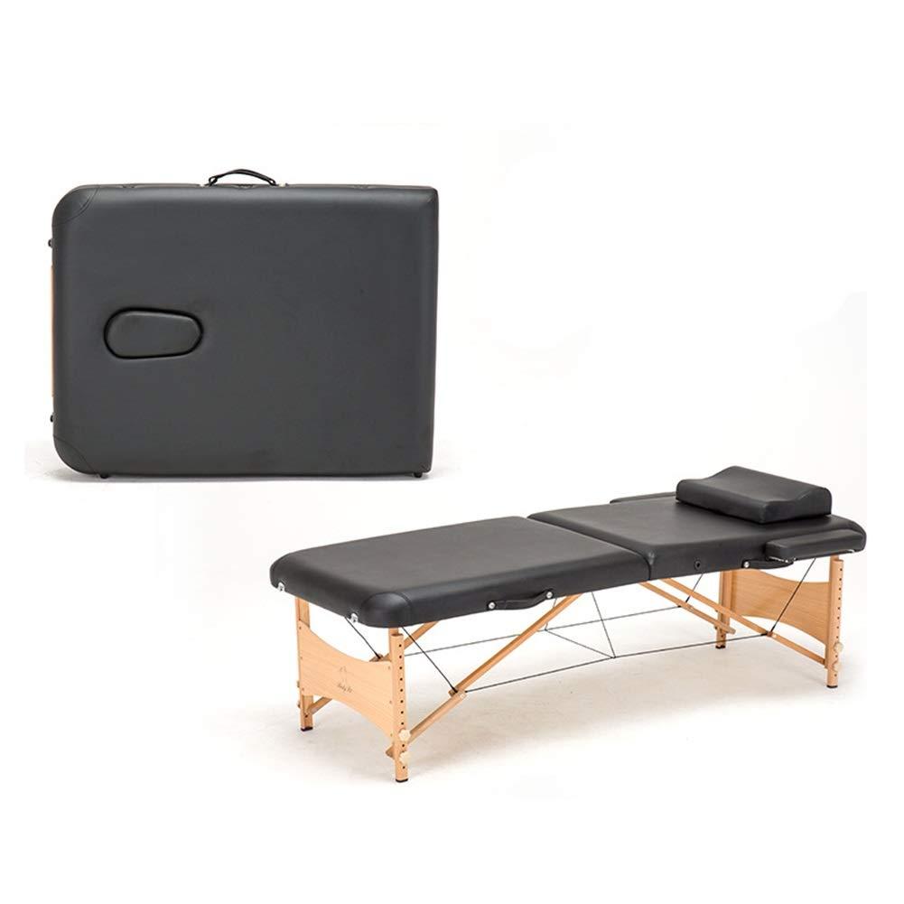 木製マッサージテーブル、軽量2セクションポータブル - 調節可能な高さ折りたたみ式マッサージベッドスパ美容ソファ付きヘッドレスト、アームサポート、キャリーケース (Color : Black) B07T4BK8S1 Black
