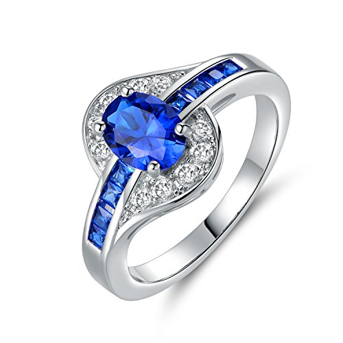 OPALTOP White Gold Plated Oval 6x8mm Created Sapphire Wedding Rings for Women Men (10) by OPALTOP