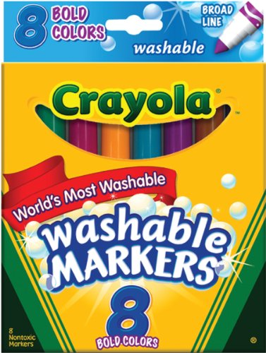 Washable Conical Tip (Crayola 8 Ct Bold Broad-Line Washable Markers)