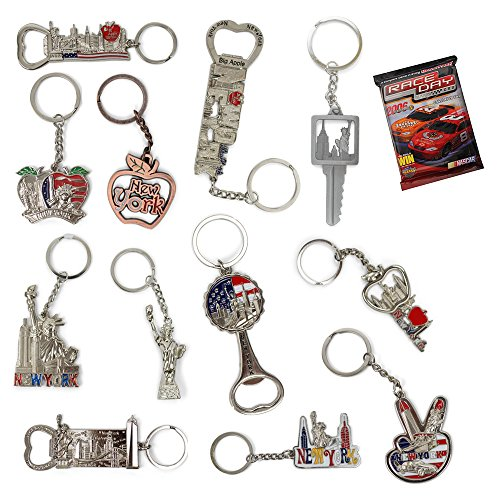 New York NYC Bundle Souvenir Metal Keychain 12 Pack~Statue Of Liberty,Usa Flag,World Trade Center,Empire State Building,Bottle Opener too & More-Bonus a Race Day Car (New York Souvenirs Keychains)
