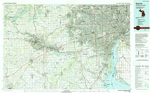 - YellowMaps Detroit MI topo map, 1:100000 Scale, 30 X 60 Minute, Historical, 1989, Updated 1991, 24 x 38.6 in - Polypropylene