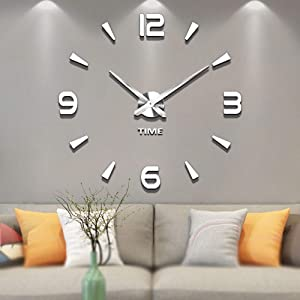 Vangold Decorative DIY Wall Clock, 2-Year Warranty Frameless Wall Clock with 3D Mirror Large Number for Living Room/Bedroom/Home Wall Decorations (Silver)