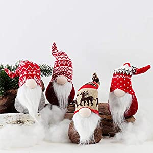 EDLDECCO Christmas Gnome Plush Yule Santa Nisse Figurine Plush Swedish Nordic Tomte Scandinavian Elf X'Mas Holiday Party Home Decor Ornaments