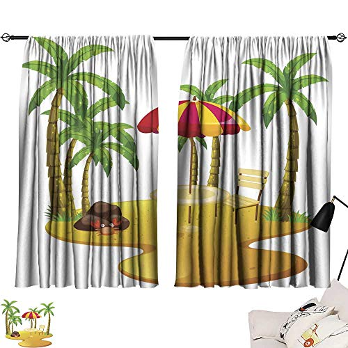 SINXY&CASE Black Curtains Beach Scene with Dining Table and Trees 54
