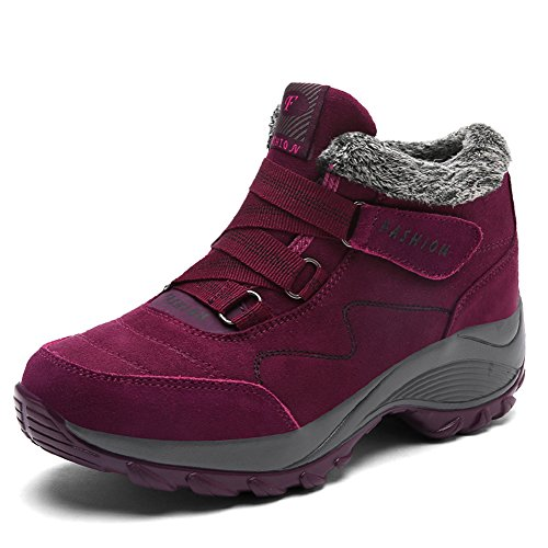 a7068391c piel Antideslizante aire Botas Gomnear de de libre Forrado Invierno Mujer  Rojo montaña Al Alto trekking Zapatos ...