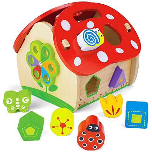 Wooden Wonders Smart Shapes Sorting House (8pcs.) by Imagination Generation (Insects Wooden Chunky Puzzle)