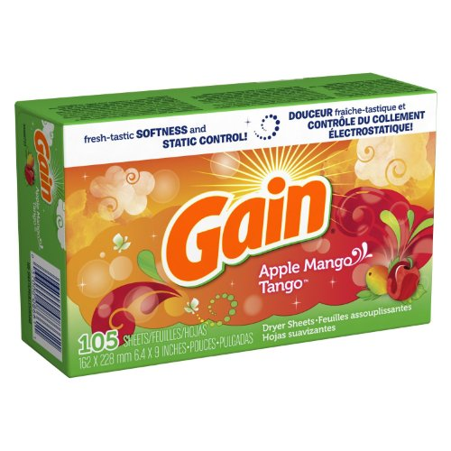 Gain With Freshlock Apple Mango Tango Dryer Sheets 105 Count (Pack of 3)